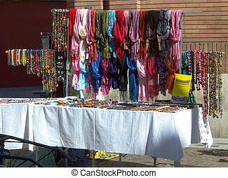 Market selling colourful ethnic garments and cloths