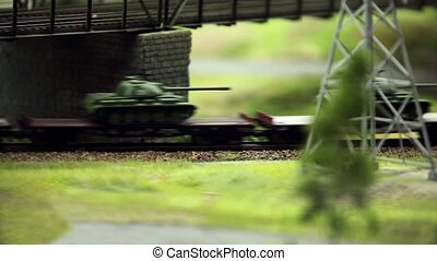 Freight train with panzer - Set of panzer transport by rail...
