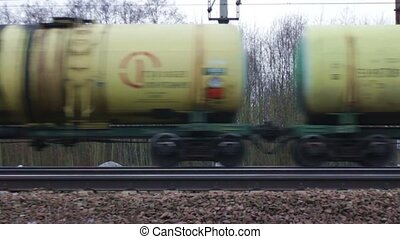 Set of tanks with oil transport by rail accelerated motion
