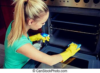 mulher, fogão, Limpeza, lar, cozinha, Feliz