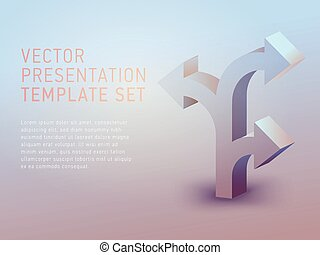 vector 3d business theme presentation template set