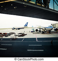 airbus - airplane is waiting for departure in pudong airport...