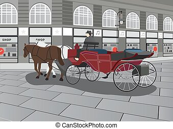 Horse Drawn Carriage on the Street Illustration - Horse...