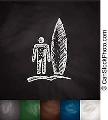 surfer with surfboard icon Hand drawn illustration...