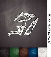surfer on the beach icon Hand drawn illustration Chalkboard...