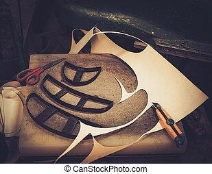 Zapatero, estudio, arte, trabajando, escritorio, con,...