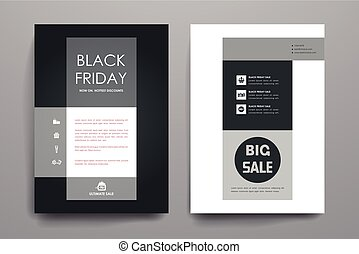 Set of brochure, poster design templates in sale style - Set...