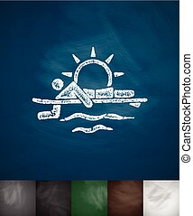 surfer at sunset icon Hand drawn vector illustration...