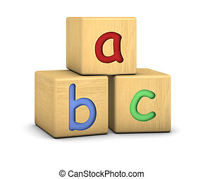 Wood blocks with abc letters on a white background Part of a...