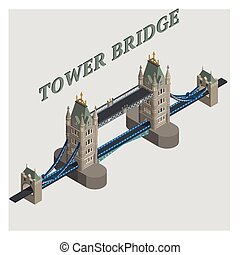 vector 3d illustrated tower bridge london england