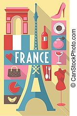 french cultural icons on travel poster. city symbols for postcards, cardboards, posters