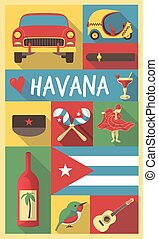 Retro Drawing of Cuba Havana Cultural Symbols on a Poster...