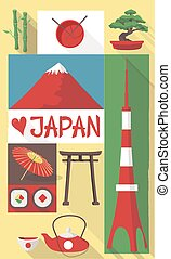 vector illustration of famous culture symbols of japan on a postcard or poster