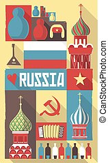 vector illustration of famous culture symbols of russia on a postcard or poster