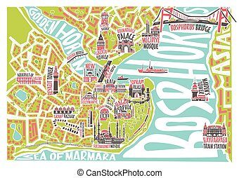 Vector illustration colored istanbul map with famous...