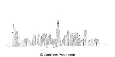 DUBAI city sketch illustration - vector hand drawing...