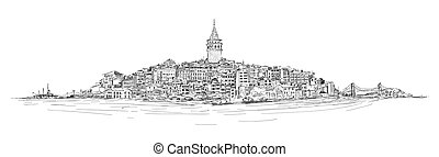 GALATA TOWER - ISTANBUL - vector sketch drawing panoramic...
