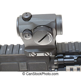 Gun optic - Red dot optic that is mounted on a modern...