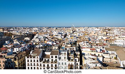 Sevilla - Aerial view of Old Seville from the Giralda Tower,...
