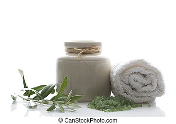 fresh olive branch and bath salt. spa