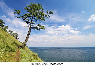 Lake Baikal - shore of Lake Baikal near the town of...