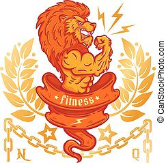 lion bodybuilder - T-shirt template with a logo lion...