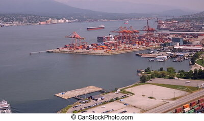 Aerial View Timelapse Vancouver harbor - Aerial view from...
