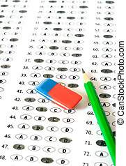 School and Education Test score sheet with answers Education...