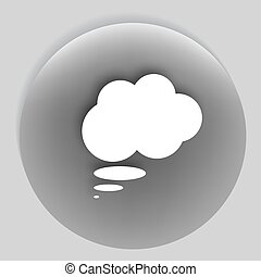 Flat paper cut style icon of thought cloud Vector...