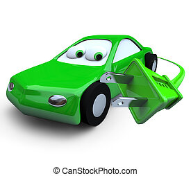 Electric Car and Plug - A green electric car and plug,...