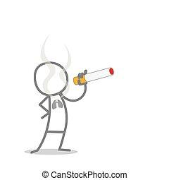 Cigarette - Doodle Man Smoking a Cigarette