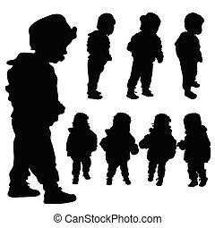 children set black silhouette illustration