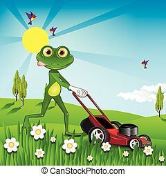 Frog mows the lawn - Illustration green frog with a lawn...