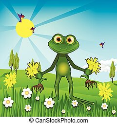 Weeding weeds - Illustration of a green frog weeding...