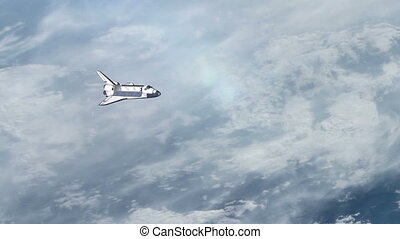 Space Shuttle above the Earth.