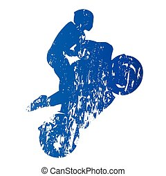 Motorcycle rider, wheelie, abstract grungy vector silhouette
