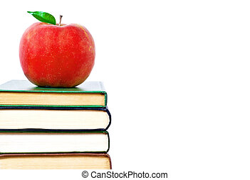 Apple and books on a white background. Education concept