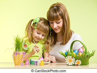 mother and kid girl paint easter eggs