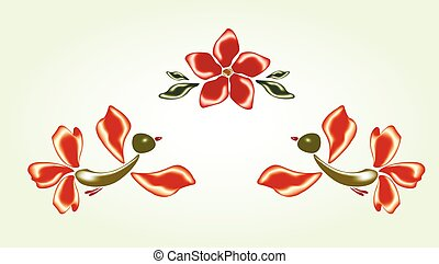 Fanny fairy glass birds and red flower. EPS10 vector...