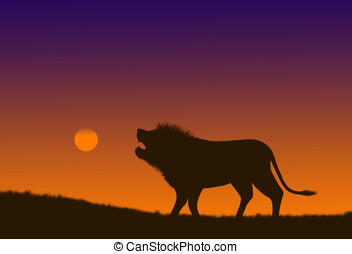 roaring lion - illustration,silhouette of a roaring lion at...