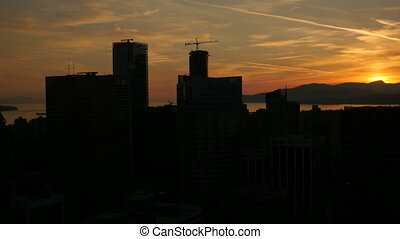 Skyline View Vancouver Sunset - Skyline silhouette view...