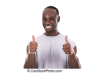 fitness man on white background - young fitness black man...