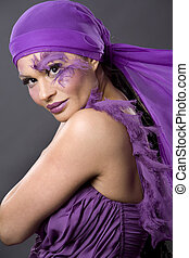 woman in purple - pretty brunette wearing purple outfit and...