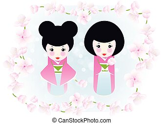 Kokeshi dolls and cherry blossoms - cute illustration of two...