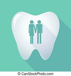 long shadow tooth icon with a heterosexual couple pictogram...