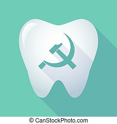 long shadow tooth icon with the communist symbol -...