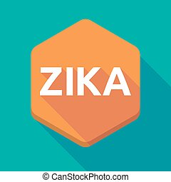 """Illustration of the word """"Zika""""   in a hexagon"""