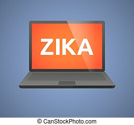 """Illustration of the word """"Zika""""   in a laptop"""