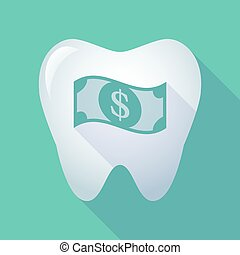 long shadow tooth icon with a dollar bank note -...