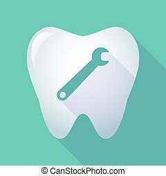 long shadow tooth icon with a spanner - Illustration of a...
